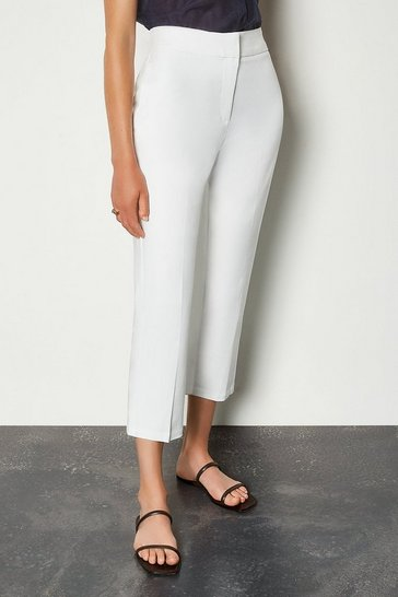 White Cotton Sateen 7/8 Trouser