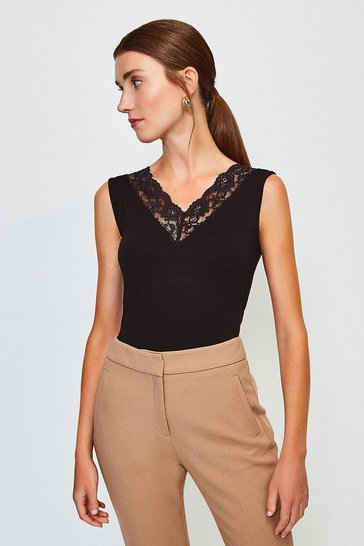 Black Viscose Elastane Lace Trim Sleeveless Vest