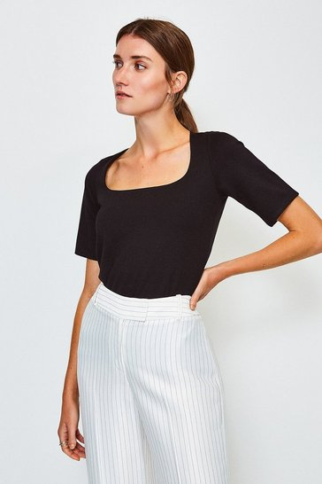 Black Ponte Square Neck Short Sleeve Top