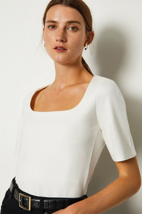 Ivory Ponte Square Neck Short Sleeve Top