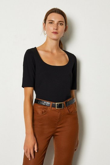 Black Ponte Scoop Neck Short Sleeve Top