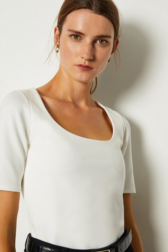 Ivory Ponte Scoop Neck Short Sleeve Top