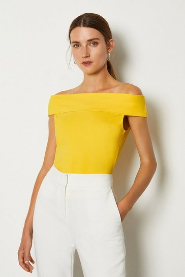 Yellow Ponte Bardot Top