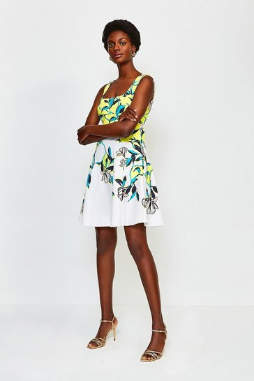 Multi Magnolia Print Square Neck Summer Dress
