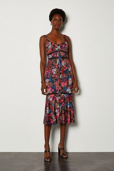 Pink Tropical Floral Print Summer Dress