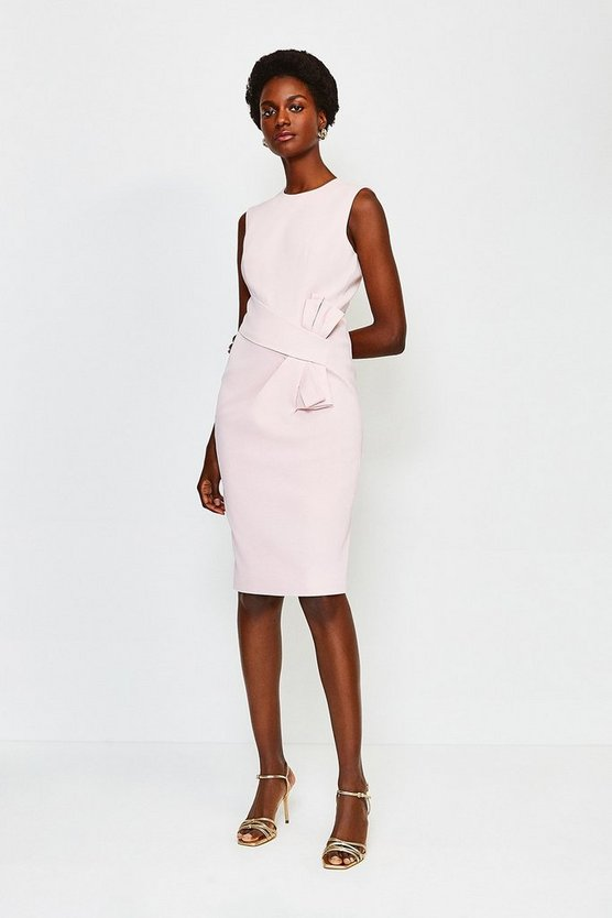Blush Italian Stretch Rib Escaping Bow Dress