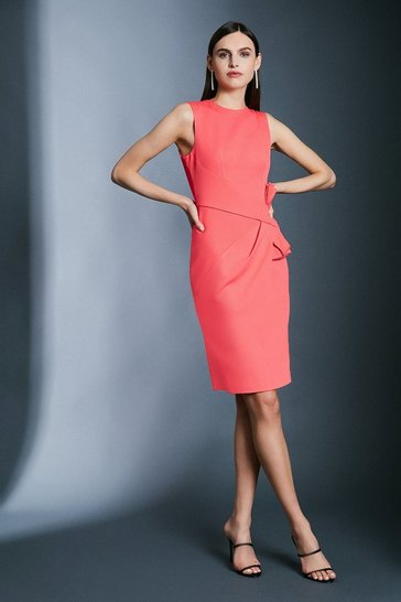 Pink Italian Stretch Rib Escaping Bow Dress