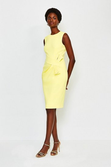 Yellow Italian Stretch Escaping Bow Dress