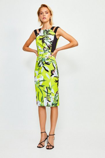 Italian Stretch Neon Lily Pencil Dress