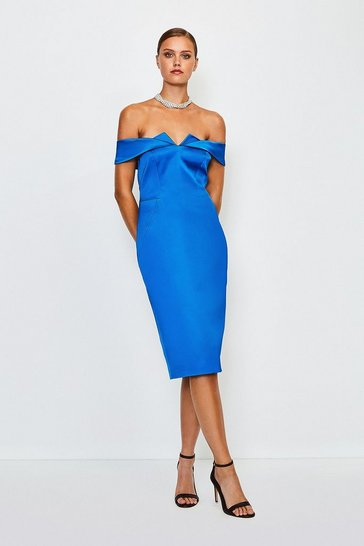 Blue Italian Structured Satin Bardot Dress