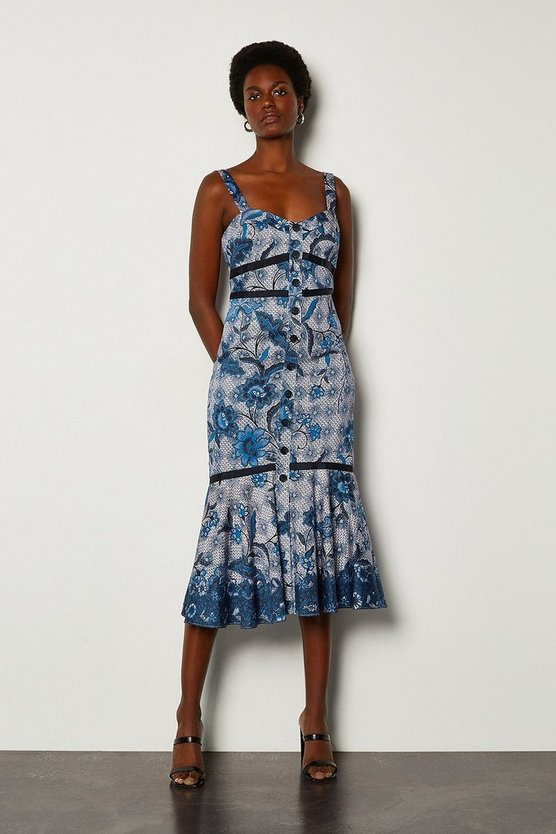 Blue Indonesian Print Summer Dress