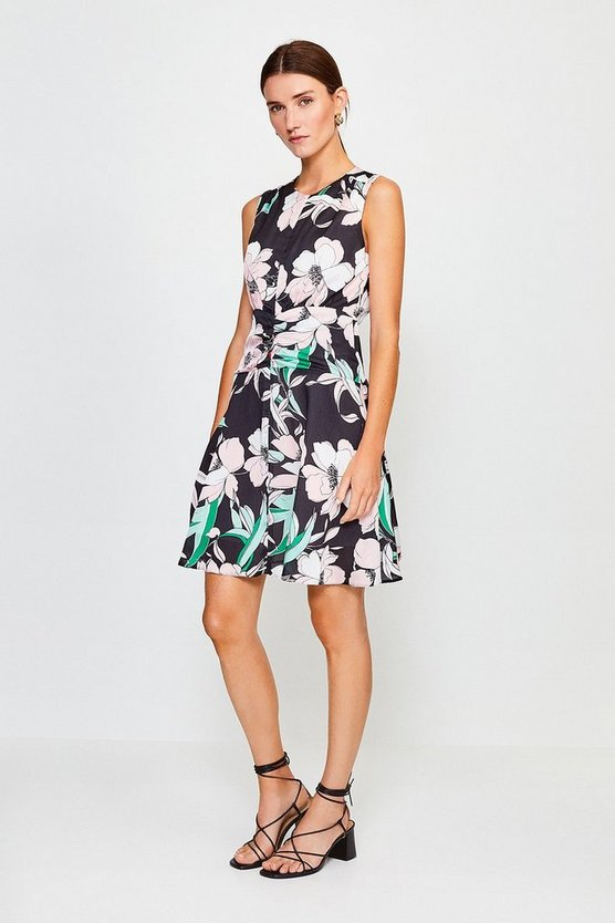 Black Floral Print Zip Front Short Dress