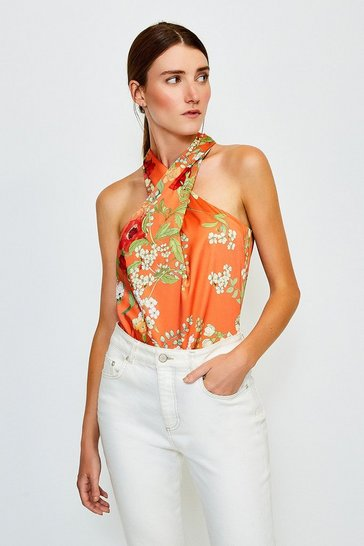 Orange Floral Print Halter Top