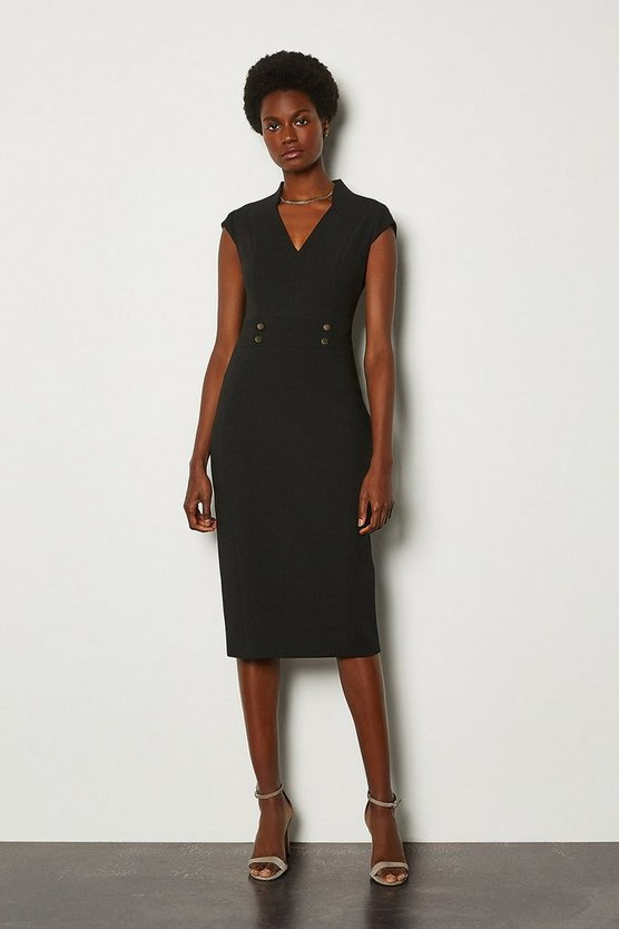 Black Forever Cap Sleeve Stud Waist Dress