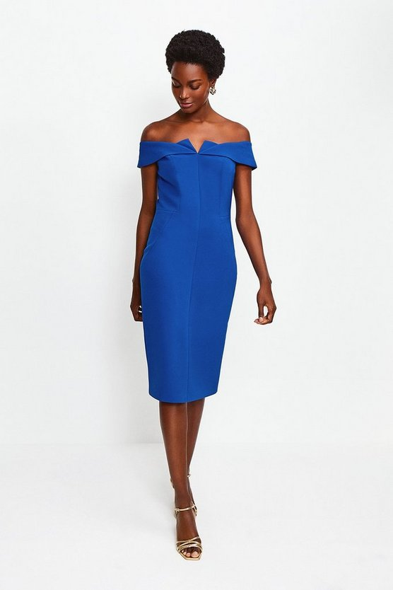 Blue Forever Bardot Pencil Dress