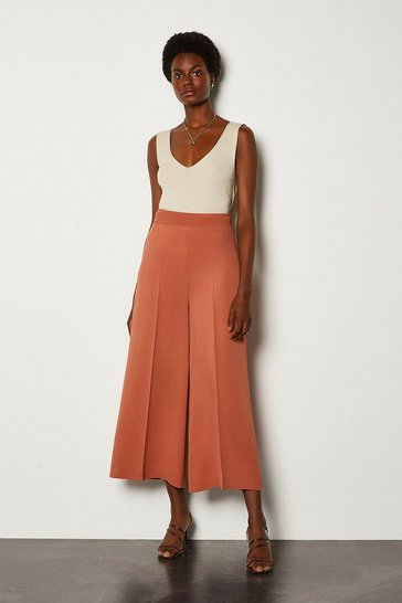 Tan Wide Leg Soft Tailored Trouser