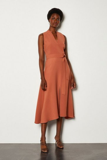 Tan Notch Neck Soft Tie Midi Dress