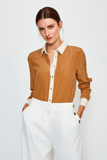 Tan Premium Silk Colour Block Shirt