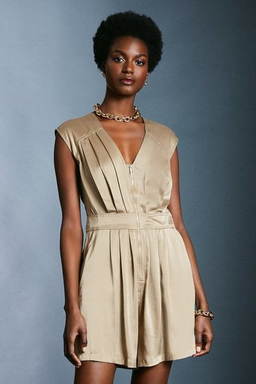Stone Luxe Silk Sand Wash Playsuit