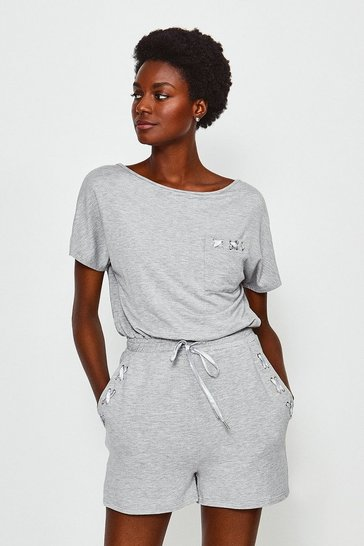 Grey Lounge Eyelet Playsuit