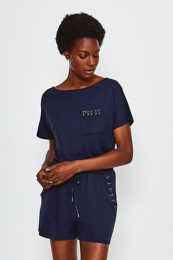 Navy Lounge Eyelet Playsuit