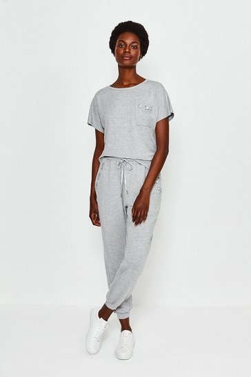 Grey Lounge Eyelet Trousers