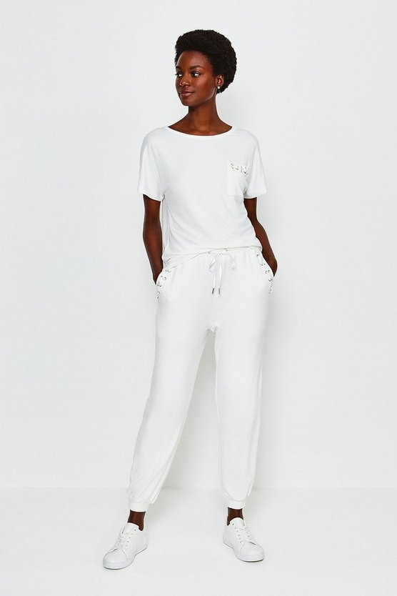 Ivory Lounge Eyelet Trousers