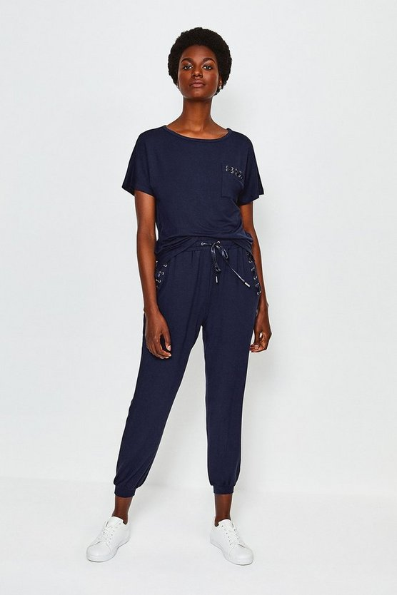 Navy Lounge Eyelet Trousers