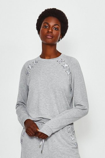 Grey Lounge Eyelet Long Sleeve Sweat Top