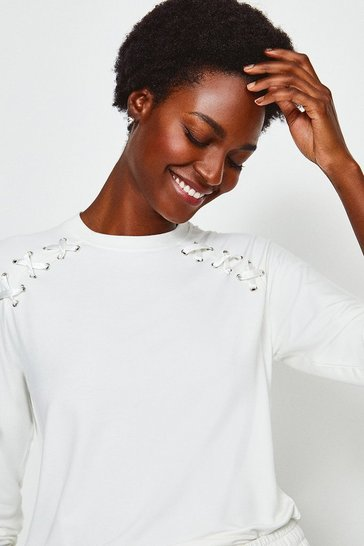 Ivory Lounge Eyelet Long Sleeve Sweat Top