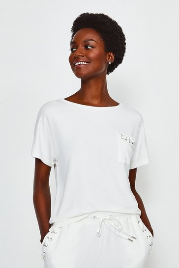 Ivory Eyelet Short Sleeved Top