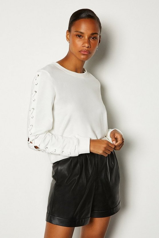 White Lace Up Sleeve Sweatshirt