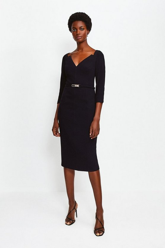 Black Forever Bar Belt Dress