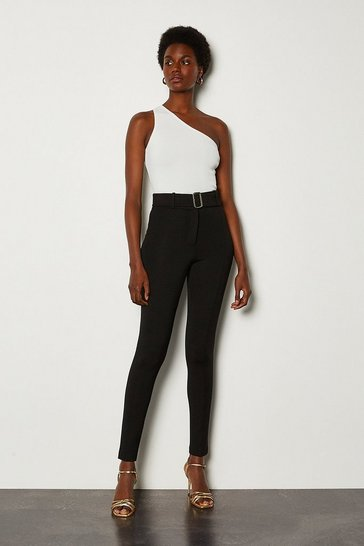 Black Luxe Belted Ponte Leggings