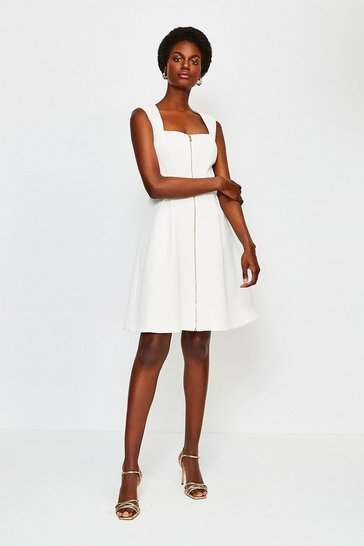White Zip Front A-Line Dress