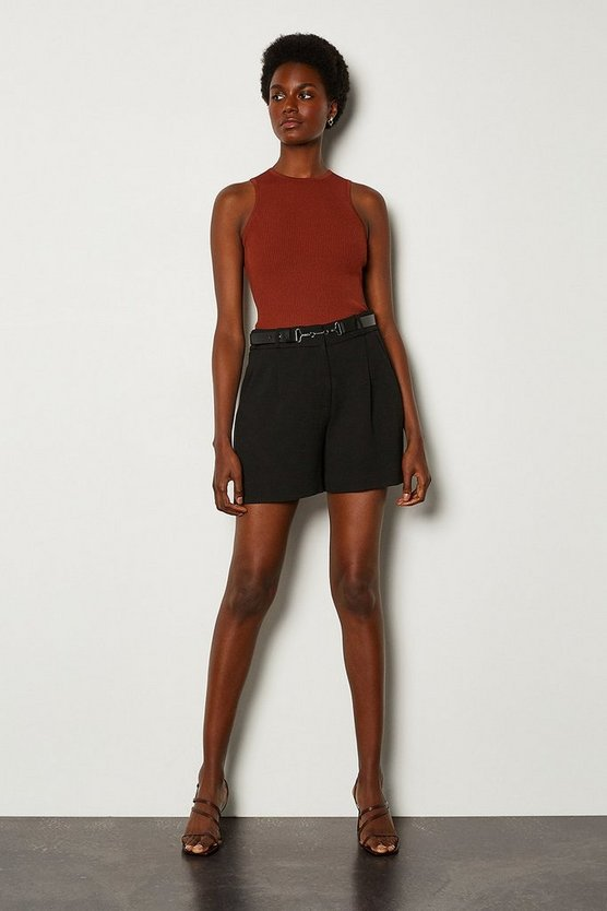 Black Belted Relaxed Tailored Shorts