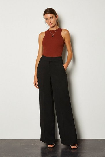 Black Viscose Satin Back Crepe Wide Leg Trousers