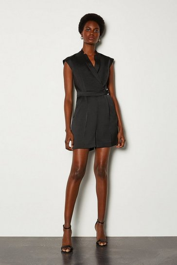 Black Collar Wrap D-Ring Detail Playsuit