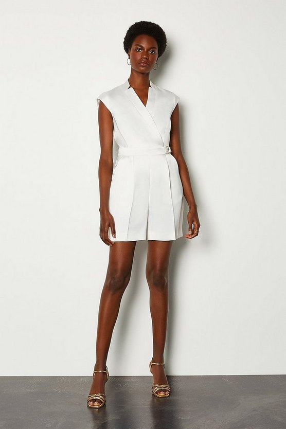 Ivory Collar Wrap D-Ring Detail Playsuit