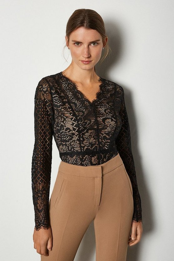 Black Long Sleeve Multi Pattern Lace Body