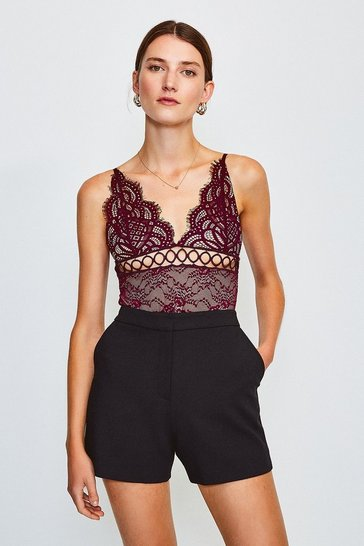 Aubergine Sleeveless V-Neck Front Detail Lace Body