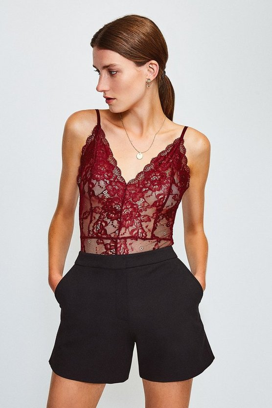 Aubergine Strappy V-Neck Lace Body
