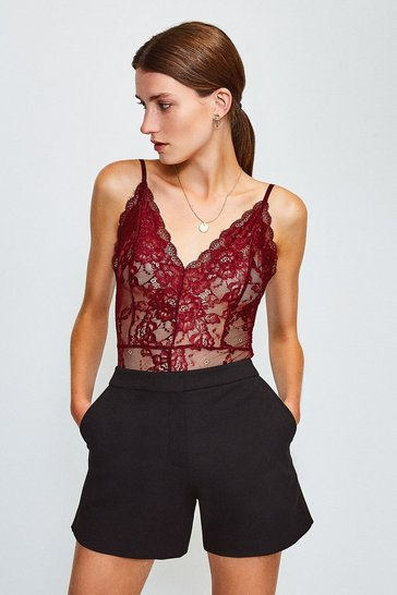 Aubergine Long Sleeve V-Neck Lace Body
