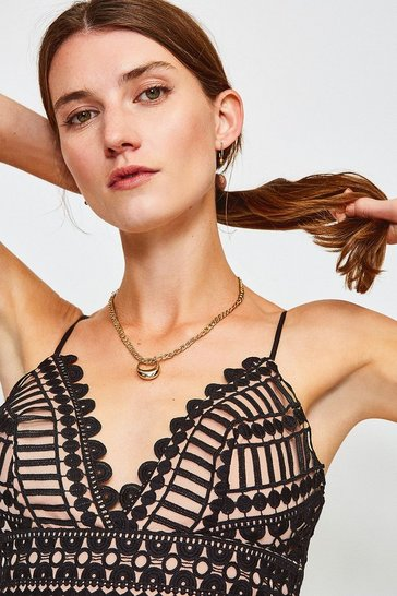 Black Strappy Geometric Lace Body