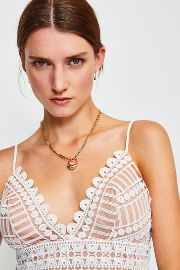 Ivory Strappy Geometric Lace Body