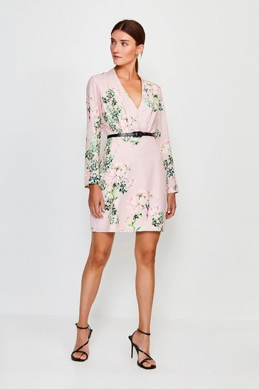 Blush Oriental Sleeved Belted Wrap Dress