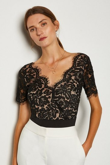 Black Short Sleeved Scallop Neck Body