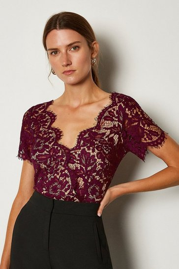 Merlot Short Sleeved Scallop Neck Body