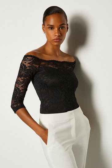 Black Off The Shoulder 3/4 Sleeve Lace Body