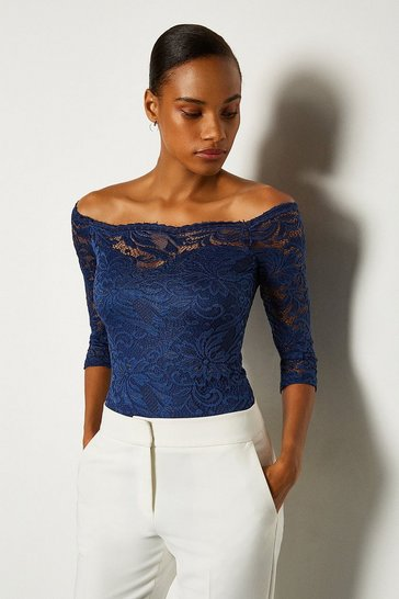 Navy Off The Shoulder 3/4 Sleeve Lace Body